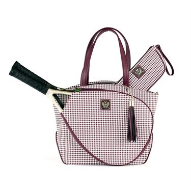 Court Couture Cassanova Houndstooth Merlot Tennis Bag