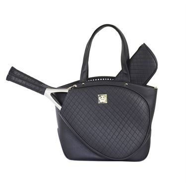 Court Couture Cassanova Quilted Black Tennis Bag