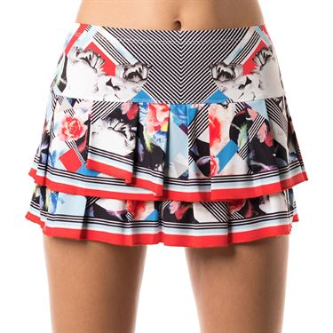 Lucky in Love Bloomy Dimensions Pleat Skirt - Bloomy Print/Crimson