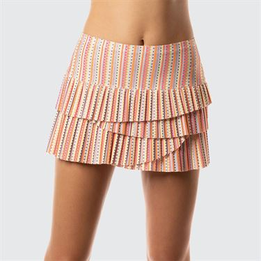 Lucky In Love Neon Vibes Pleated Scallop Skirt - Coral Crush