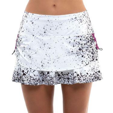 Lucky in Love City Graffiti Splatter Ruched Tier Skirt Womens White/Black/Passion Pink CB217 E07121