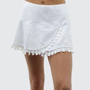 Lucky in Love Laser Tassel Skirt - White