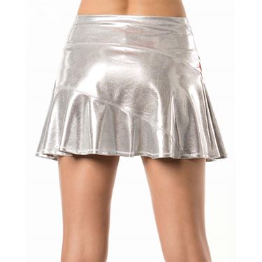 Lucky in Love Go For the Metal Long Asymmetrical Olympian Skirt - Silver
