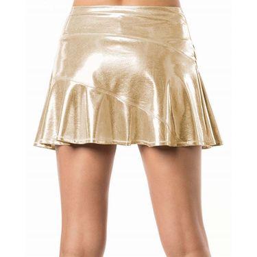 Lucky in Love Go For the Metal Long Asymmetrical Olympian Skirt - Gold