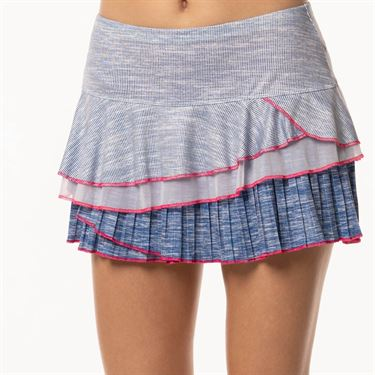 Lucky in Love Shape It Up Mixed Media Rally Skirt - Blueberry