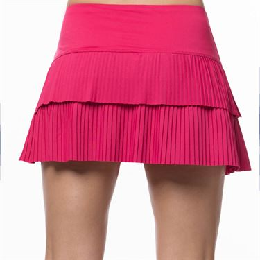 Lucky In Love Tropic Chroma Sunrise Pleat Tier Skirt Womens Shocking Pink CB341 645