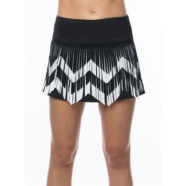Lucky In Love Laser Chevron Fringe Skirt Womens White/Black CB342 121