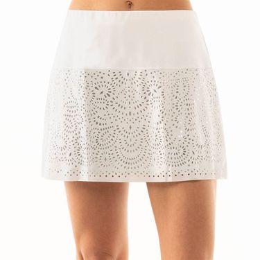 Lucky in Love Metallic Long Laser Shine Skirt Womens White/Silver CB344 851135