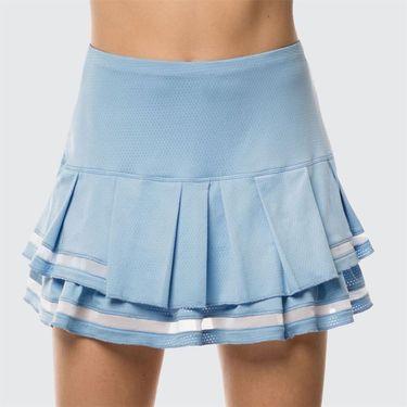 Lucky in Love Celestial Geo Mesh Pleated Tier Long Skirt - Bluebell
