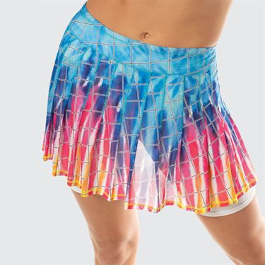 Lucky in Love Meshing Around Long Tie Dye Mesh Pleated Skirt Womens Multi CB405 A67955