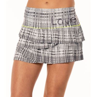 Lucky in Love Mad About Plaid Manhattan Pleated Scallop Skirt Womens Charcoal CB412 A57040