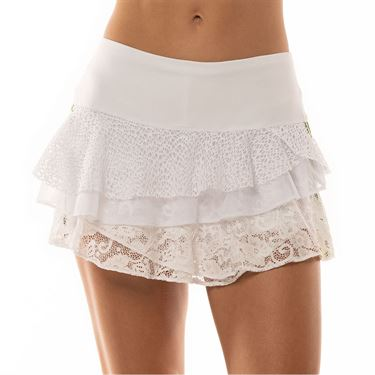 Lucky in Love Lace Yourself Stripe Lace Rally Skirt Womens White CB419 120