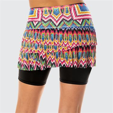 Lucky in Love Meshing Around Psychedelic Mesh Pleated Scallop Skirt Womens Black CB424 A64001