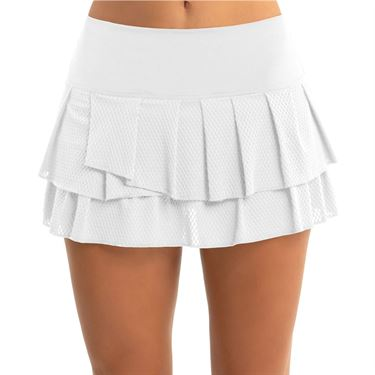 Lucky in Love Core Wavy Pleated Tier Skirt Womens White CB425 110