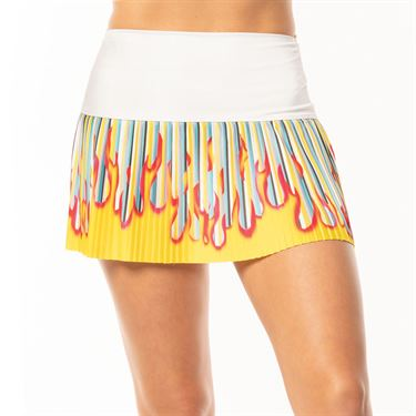 Lucky in Love BMS Print Hi Stripe Pleated Skirt Womens Multi CB427 A09955