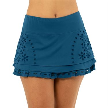 Lucky in Love A Stitch In Time Eyelet Tier Skirt Womens Slate CB433 B79407