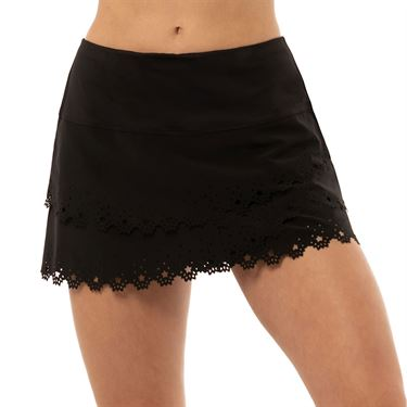 Lucky in Love Laser Star Burst Scallop Skirt Womens Black CB438 B81001