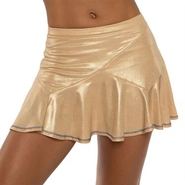 Lucky in Love A Stitch In Time Metallic Flounce Skirt Womens Champagne CB460 211