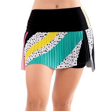Lucky in Love Hi Retro Color Block Pleated Skirt Womens Black CB471 D44001