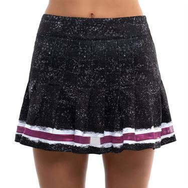 Lucky in Love City Graffiti Long Roller Pleated Skirt Womens Black/Passion Pink CB481 E08001