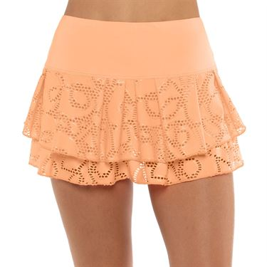 Lucky in Love Eyelet Go Lace Pleat Tier Skirt Womens Orange Frost CB78 824