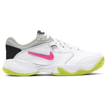 Nike Court Lite 2 Junior Tennis Shoe White/Laser Fuchsia/Hot Lime/Grey Fog CD0440 107