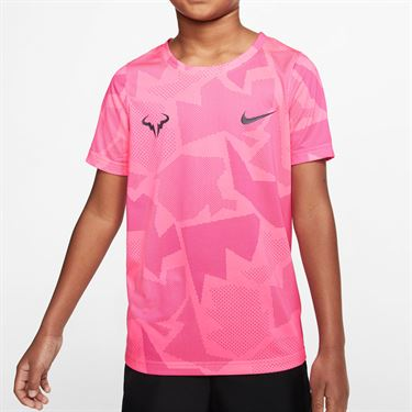 Nike Boys Court Dri Fit Rafa Tee Shirt White/Digital Pink/Vivid Pink/Gridiron CD2165 100