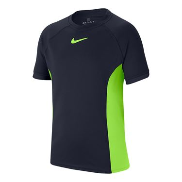 Nike Boys Court Dri Fit Crew Shirt Obsidian/Ghost Green CD6131 451