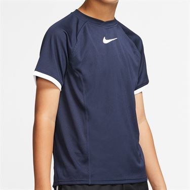 Nike Boys Court Dri Fit Crew Shirt Obsidian/White CD6131 452
