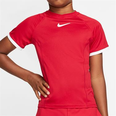 Nike Boys Court Dri Fit Crew Shirt Gym Red/White CD6131 687