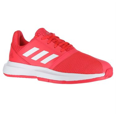 adidas Court Jam XJ Junior Tennis Shoe - Shock Red/White/Matte Silver