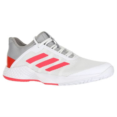 new arrival e888d ccd92 adidas Adizero Club Mens Tennis Shoe - Light Granite Shock Red White ...