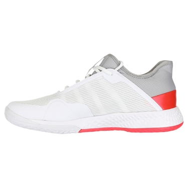 adidas Adizero Club Mens Tennis Shoe - Light Granite/Shock Red/White