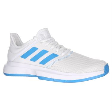 adidas Game Court Womens Tennis Shoe - White/Shock Cyan/Matte Silver
