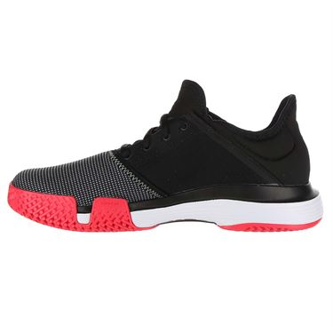 adidas Sole Court XJ Junior Tennis Shoe - Black/Hi Res Yellow/Shock Red