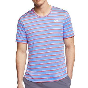 Nike Court Dri Fit Crew Shirt Mens Royal Pulse/White CI9144 478