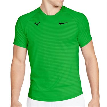 Nike Court Aero React Rafa Slam Crew Shirt Mens Green Strike/Black CI9152 398