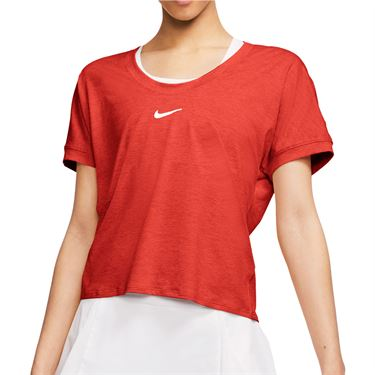 Nike Court Dri Fit Top Womens Habanero Red/White CI9316 634