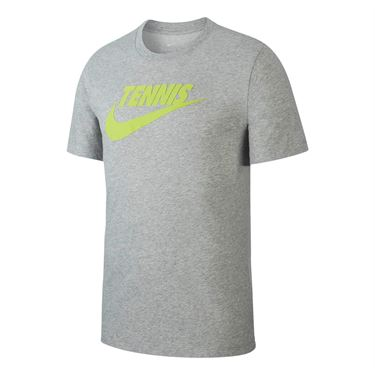 Nike Court Tennis Graphic Tee - Dark Grey Heather/Volt