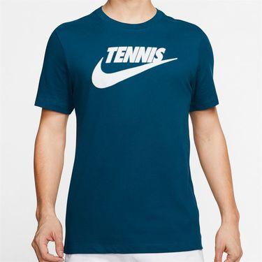Nike Court Tennis Graphic Tee Shirt Mens Valerian Blue/White CJ0429 432