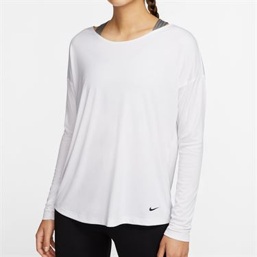 Nike Dry Long Sleeve Top Womens White/Black CJ3225 100