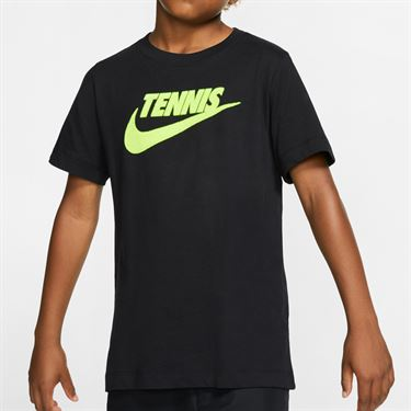 Nike Boys Court Short Sleeve Graphic Tee - Black/Volt