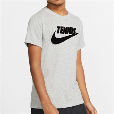 Nike Boys Court Dri Fit Graphic Tee Shirt Dark Grey Heather/Black CJ7758 066