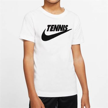 Nike Boys Court Short Sleeve Graphic Tee - White/Black