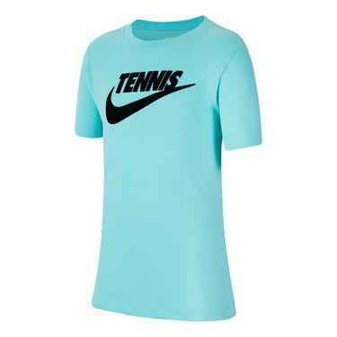 Nike Boys Court Short Sleeve Graphic Tee - Light Aqua/Black