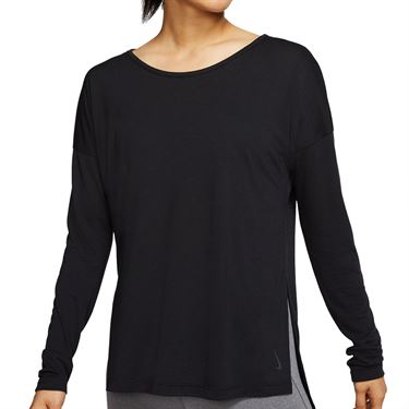 Nike Dri FIT Yoga Long Sleeve Top Womens Black/Dark Smoke Grey CJ9324 010