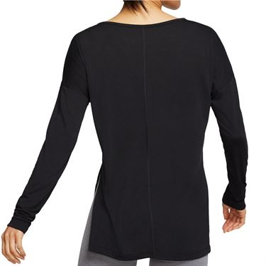 Nike Dri FIT Yoga Long Sleeve Top Womens Black/Dark Smoke Grey CJ9324 010