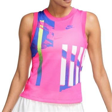 Nike Court Slam Tank Womens Pink Foil/Hot Lime/White/Sapphire CK8432 604