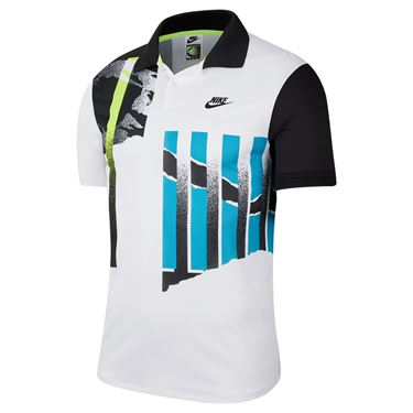 Nike Court Advantage Polo Shirt Mens White/Black/Neo Teal CK9793 101