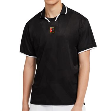 Nike Court Breathe Slam Polo Shirt Mens Black/White CK9795 010